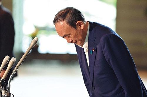 "<span class=""fontBold"">9月3日、菅義偉首相は9月29日投開票の自民党総裁選への出馬を見送る意向を表明した</span>(写真=AFP/アフロ)"