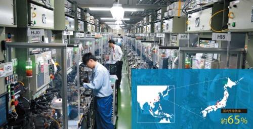 国内生産比率は約65%<br><small>●村田製作所の主な製造拠点</small>
