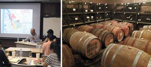 """<span class=""""fontBold"""">山梨大学ワイン科学研究センターには、設立以来蓄えられた貴重なサンプルが貯蔵され、受講生の教育に役立てられている(右)。ボルドー大学など海外の名門から招いたゲスト講師の授業もある(左)</span>"""