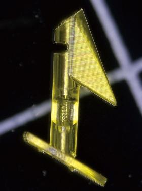 "<span class=""fontBold"">BMFの技術を用いた樹脂製の緑内障用治療器具は北京同仁病院と共同で開発した</span>"