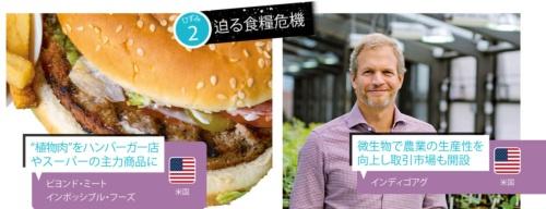 """<span class=""""fontBold"""">スタートアップが立ち上げた""""植物肉""""市場にスイスのネスレなど大手も参入し市場が急拡大(写真左)、連続起業家のデービッド・ペリー氏は食革命のビジョンに共感しCEO職を引き受けた(写真右)</span>(写真左:Drew Angerer/Getty Images)"""