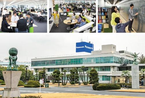 """<span class=""""fontBold"""">東京・汐留エリアにあるパナソニックのコネクティッドソリューションズ社の本社オフィスは、ネットベンチャーのよう(上3点)。パナソニック全体の本社がある門真(下)とは別会社の雰囲気が漂う</span>(写真=今 紀之)"""