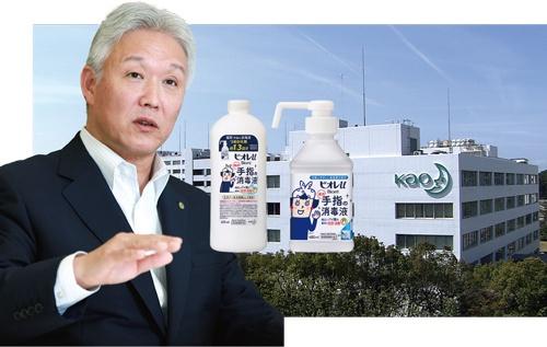 "<span class=""fontBold"">澤田社長は消毒液の大増産を指示。急ピッチで生産体制を拡充した。詰め替え容器には別商品のものも代用し、供給を続けた</span>(写真=時事)"