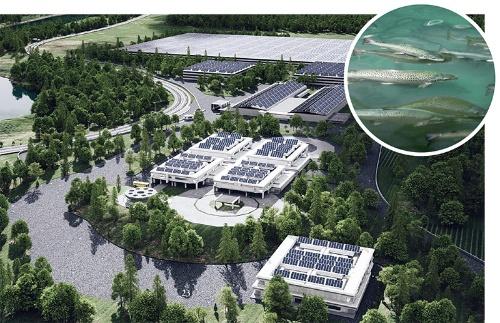"""<span class=""""fontBold"""">ソウルオブジャパンの養殖施設のイメージ図。生産施設面積は東京ドームの1.5倍</span>"""