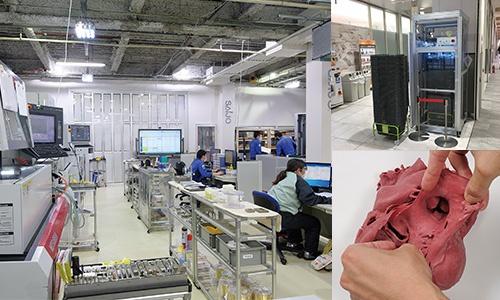 """<span class=""""fontBold"""">最上インクス(左)が加盟する京都試作ネットはイオンリテールの買い物かご除菌装置を開発(右上)。クロスエフェクトは精緻な心臓模型を作った(右下)</span>(写真=宮田 昌彦)"""