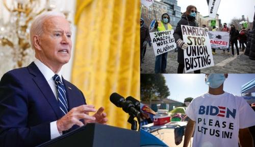"""<span class=""""fontBold"""">3月25日、就任後初めてとなる記者会見に臨んだバイデン大統領。国内では移民や人種差別などの問題が深刻になっている</span>(写真=左・右下:AP/アフロ、右上:AFP/アフロ)"""