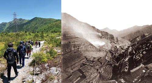 """<span class=""""fontBold"""">住友グループの礎となった別子銅山は、煙害と伐採で荒廃した(右)。住友化学では、若手社員が緑を取り戻したこの地を訪ね、公害克服の歴史を学ぶ(左)</span>(写真=右:住友資料館(写真は明治時代))"""