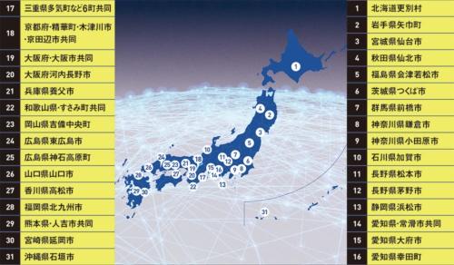 "<span class=""fontSizeL"">北は北海道から南は沖縄まで</span><br><span class=""fontSizeS"">●スーパーシティに立候補した31グループ</span>"