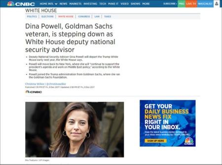 国家安全保障問題担当副補佐官だったディナ・パウエル氏は2017年12月7日に辞任を表明、今年1月上旬にトランプ政権を去った