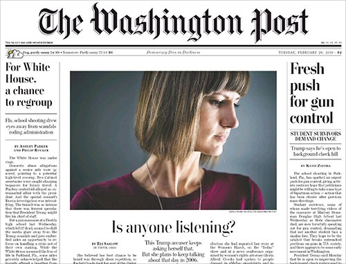 レイチェル・クルックス氏は、2006年にトランプ氏の下で働いていた時に、同氏からセクハラを受けたと2016年の大統領選の際に明らかにした。そして今年2月、そうした間違った行為を正していきたいとして11月に行われる州議会選挙への出馬を表明した。ワシントン・ポストは2月20日、そのことを1面で報じた(上)。
