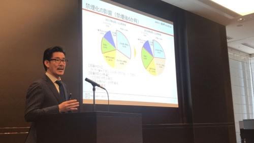 2018年11月期決算を発表する串カツ田中ホールディングスの貫啓二社長