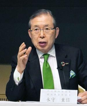 1月23日、決算会見で説明する日本電産の永守重信会長CEO(写真:共同通信)