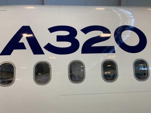 エアバス本社内にあるA320シリーズのモックアップ。大量の受注残がある