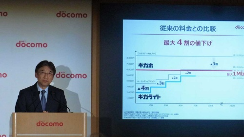 新たな料金プラン「ギガホ」と「ギガライト」を発表するNTTドコモの吉澤和弘社長