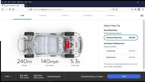 モデル3の販売画面。最低価格の3万5000ドルのモデルはWebでの販売をやめている
