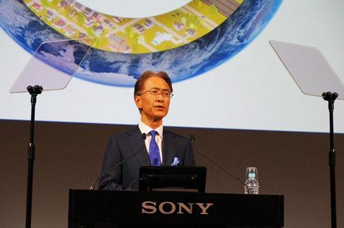 経営方針を説明するソニーの吉田憲一郎社長