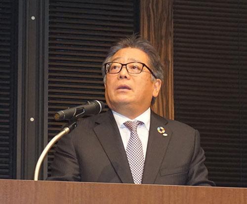 事業方針説明会に臨むデンソーの有馬浩二社長