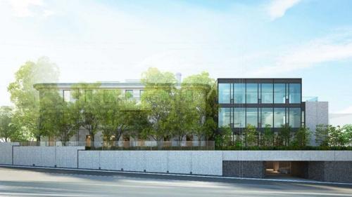 野村不動産が1棟丸ごとリノベーションして分譲するマンションの完成イメージ。左側が既存部分で、右側が増築部分