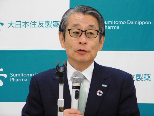 ロイバントとの提携を発表した大日本住友製薬の野村博社長