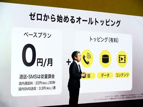 月20ギガのベースプランをやめ、ゼロ円の基本料金に通信データ量を必要に応じて買い足せる形にする