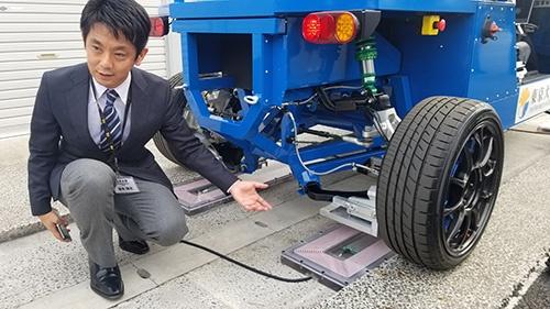 道路に埋め込んだ送電装置から、タイヤで電気を受け取る(左は東京大学大学院の藤本博志准教授)