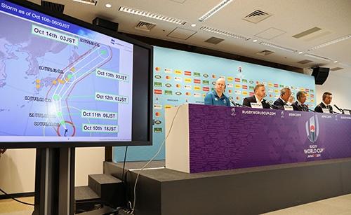 ラグビーW杯の大会組織委は台風19号接近で2試合の中止を決定した(写真=ロイター/アフロ)
