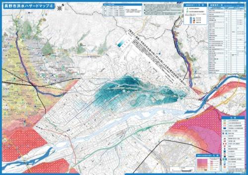 ハザードマップと浸水推定を重ねた合成図