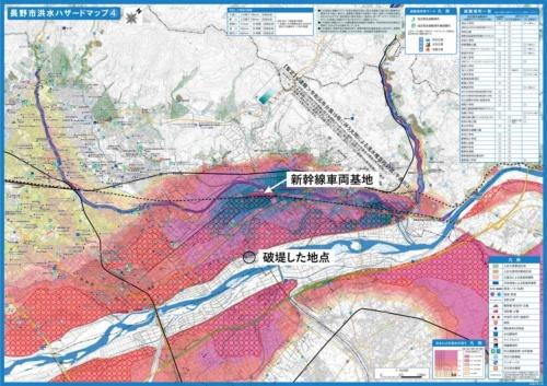 堤防の決壊地点を表示した合成図