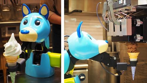 ソフトクリーム調理ロボの「レイタ」。45秒でソフトクリームを巻き上げて顧客への提供まで行う