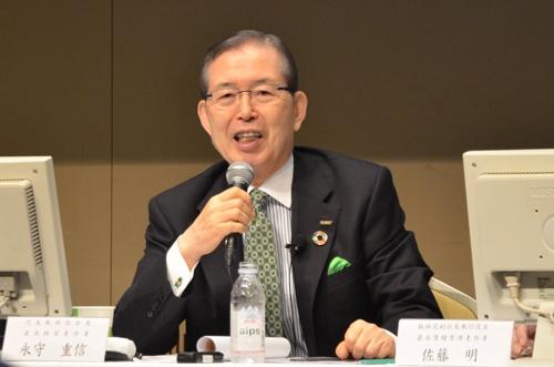 24日、決算説明会に登場した日本電産の永守重信会長CEO