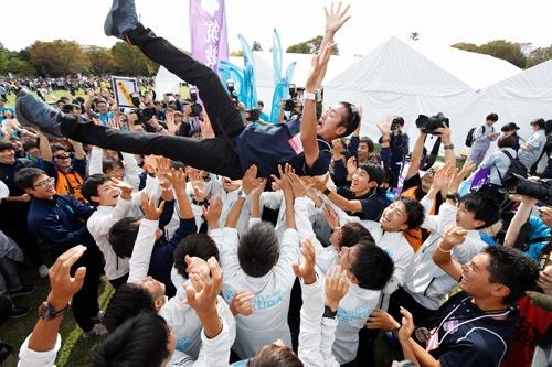 筑波大学は26年ぶりの箱根駅伝出場を決めた(写真:森田直樹/アフロスポーツ)