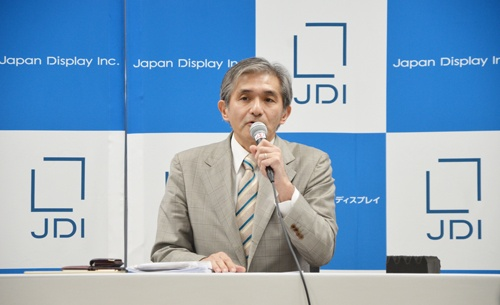 会見に登壇したジャパンディスプレイの菊岡稔社長兼CEO