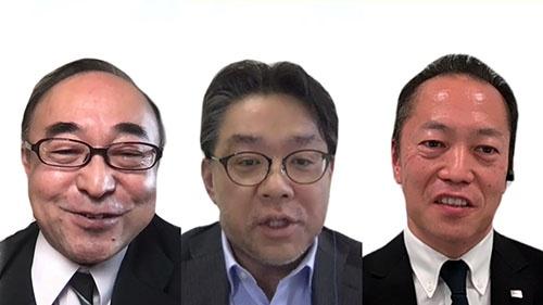(写真左から)ANAシステムズの阿部恭一氏、東京海上ホールディングスの阿部仁氏、東芝の天野隆氏