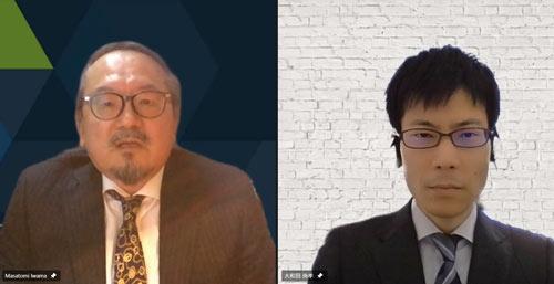 (写真左から)ファイア・アイ岩間氏、日経BP総合研究所 イノベーションICTラボ 上席研究員 大和田尚孝