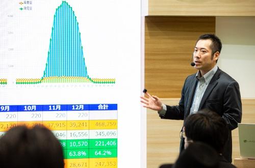 RE100電力の展示ブースでは、平山氏のセミナーも開催された