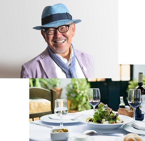 マッキー牧元氏(上)。飲食店の知識だけではなく、生産者や作り手の思いに根差した知識を提供してくれるグルマンの協力が得られるのもまた、ダイナースクラブらしい特典のひとつ(下のテーブル写真はイメージ)