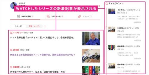 WATCHしている記事が更新されると、「マイページ」に更新情報が表示され、当該記事にジャンプすることもできる