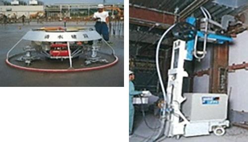 清水建設が1980~90年代に開発した左官仕上げロボット(左)と鉄骨柱溶接ロボット