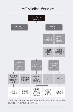 鈴木さんが、ユーグレナの大量培養のためつくったロジックツリーのイメージ(実際のものより簡略化してある)