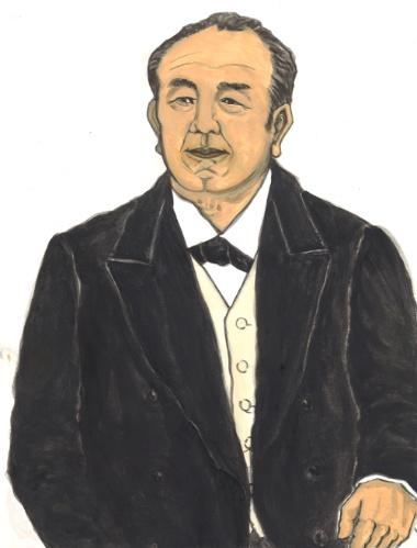 浅野総一郎を、本物の近代経営者だと言った渋沢栄一。浅野の、石炭の荷揚げ場で真っ黒になって働き、1分、2分を争う商売をしていると言う姿に心を動かされた(画・中村麻美)