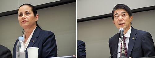 日本マクドナルドホールディングスのサラ・カサノバ社長兼CEO(左)と日本マクドナルドの日色保社長兼CEO