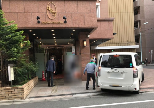 「東横イン東京駅新大橋前」では軽症、無症状の患者100名程度を受け入れる(7日、東京・中央)