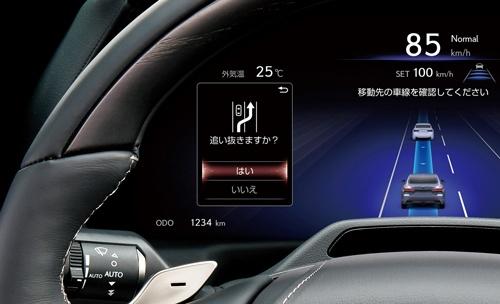 システムが交通状況を判断し、ドライバーに追い越しや車線変更を提案・支援する