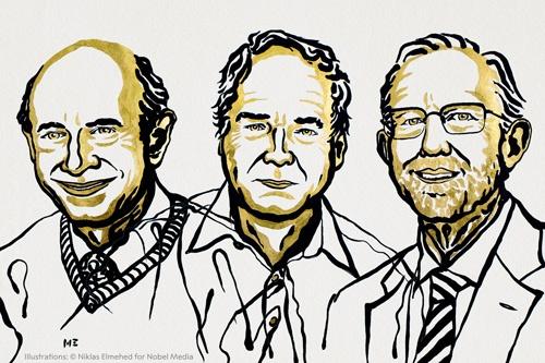左から、アルター氏、ホートン氏、ライス氏(イラスト提供:ノーベル財団)