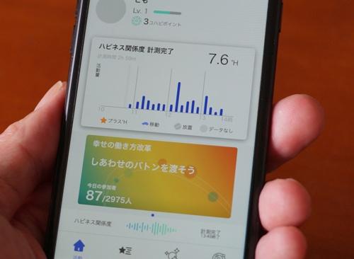 人の幸せを数値化した「ハピネス関係度」を測定できるスマホアプリを提供する