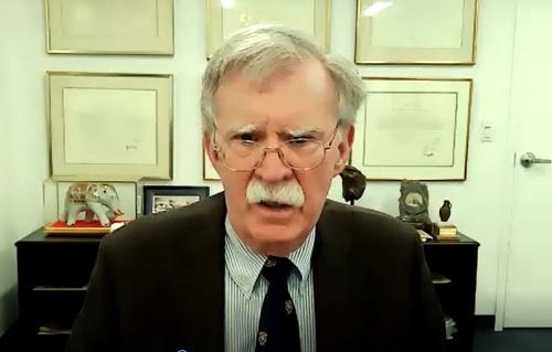 米東部時間11日午前、Zoomで日経ビジネスの取材に応じたジョン・ボルトン前大統領補佐官(国家安全保障担当)