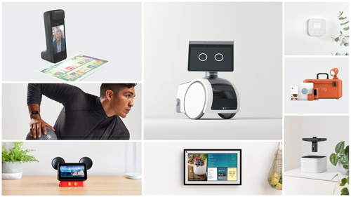 多様な家庭用デバイスが発表された。左下がミッキーマウスをイメージしたスマートスピーカー「Echo Show 5」向けスタンド