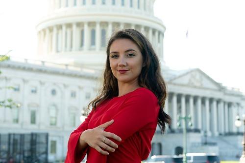 """<span class=""""fontSizeM"""">【今回の主役】<br>米国の若者を共産主義から守る活動を展開する<br>モーガン・ジガースさん(Morgan Zegers、23歳)</span>"""