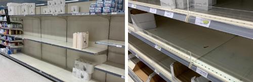 スーパーマーケットの陳列棚にはトイレットペーパーがわずかしか残っていない。乾燥パスタもない。英国ではこうした店が続出している