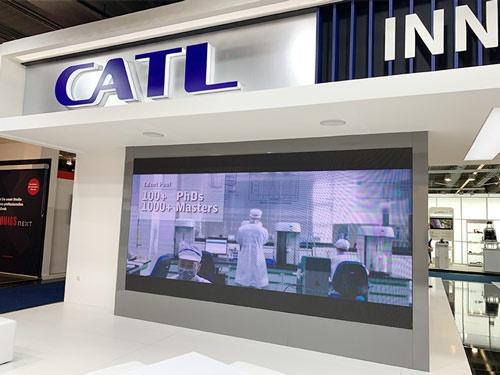 2019年の独フランクフルト国際自動車ショーに出展していた中国の寧徳時代新能源科技(CATL)。21年中にドイツで新工場を開設する予定だ